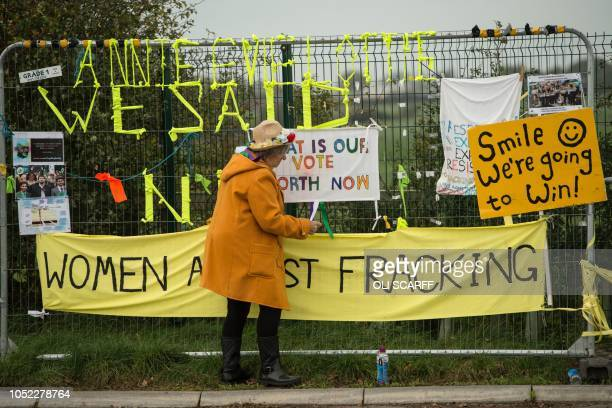 Antifracking protesters gathers near the entrance to the Preston New Road drill site where energy firm Cuadrilla Resources have commenced fracking...