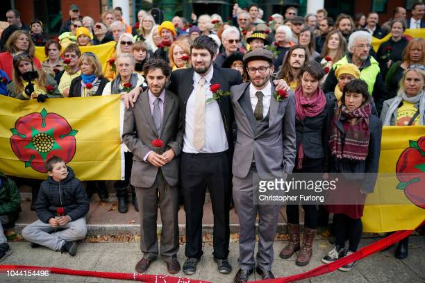 A man in character who says he is 'pro fracking' stands outside Preston Crown Court where antifracking protesters Rich Loizou Richard Roberts and...