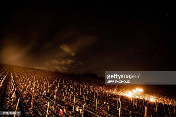 Anti-frost candles burn at the Daniel-Etienne Defaix wine estate vineyard near Chablis, Burgundy, on April 7, 2021 as temperatures fall below zero...