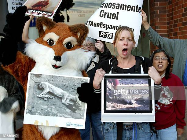 Antifur activists protest outside of New Line Cinema's Premiere of 'Monster In Law' at the Mann National Theatre on April 29 2005 in Westwood...