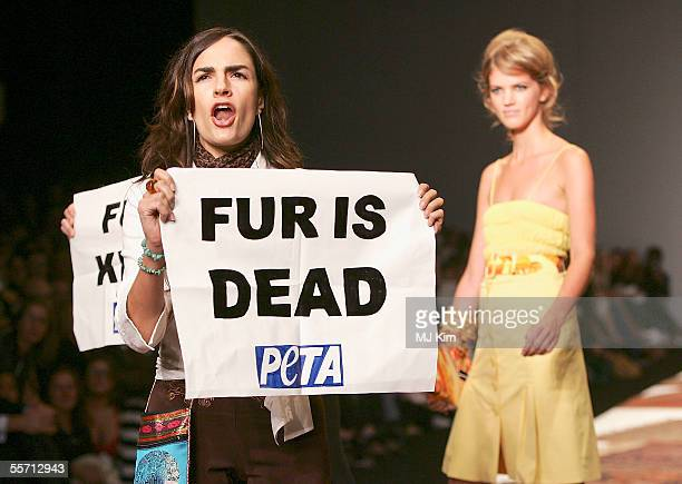 Anti-fur protestors from Peta are seen on the runway at the Julien MacDonald fashion show as part of London Fashion Week Spring/Summer 2006 at the...