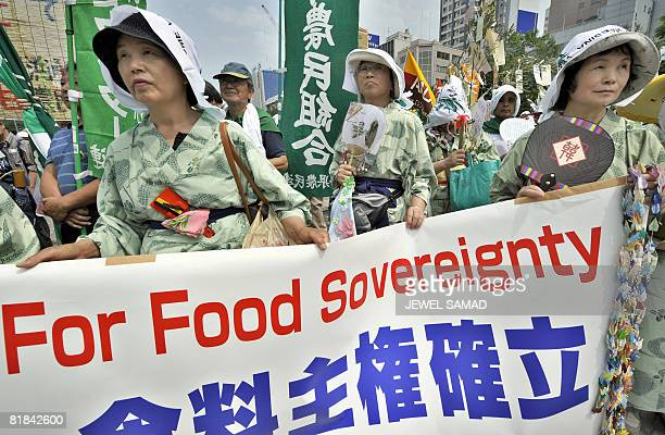 AntiG8 activists take part in a demonstration in Sapporo on July 5 2008 ahead of the Hokkaido Toyako G8 Summit 2008 Leaders of the eight major...