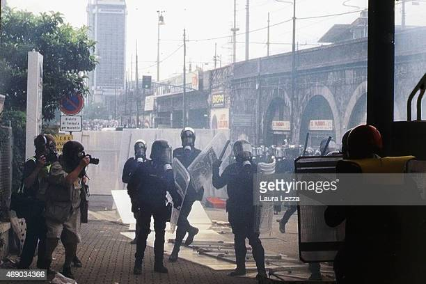 AntiG8 protester run away during clashes with police on the second day of the G8 Summit on July 20 2001 in Genoa Italy Thousands of anti G8...