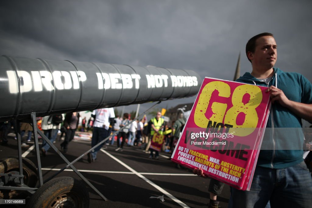 Anti-G8 protesters gather ahead of a G8 demonstration on June 17, 2013 in Enniskillen, Northern Ireland. The two day G8 summit, hosted by UK Prime Minister David Cameron, is being held in Northern Ireland for the first time. Leaders from the G8 nations have gathered to discuss numerous topics with the situation in Syria expected to dominate the talks.