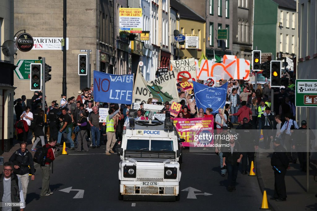 Anti-G8 protesters march through the streets near the G8 Summit on June 17, 2013 in Enniskillen, Northern Ireland. The two day G8 summit, hosted by UK Prime Minister David Cameron, is being held in Northern Ireland for the first time. Leaders from the G8 nations have gathered to discuss numerous topics with the situation in Syria expected to dominate the talks.