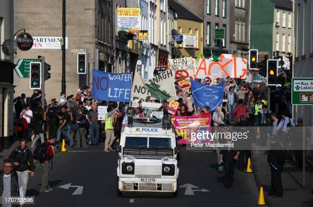 AntiG8 protesters march through the streets near the G8 Summit on June 17 2013 in Enniskillen Northern Ireland The two day G8 summit hosted by UK...