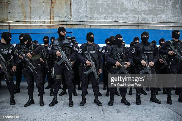 SALVADOR MAY 2015 Antigangs policemen are receiving instructions for an operation in a dangerous neighborhood in San Salvador In 2012 was created the...