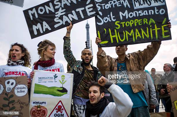 Antigenetically modified organism activists gather on the Trocadero square near the Eiffel tower during a demonstration against GMOs and US chemical...