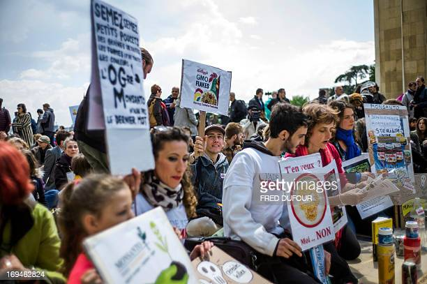 Antigenetically modified organism activists gather on the Trocadero square during a demonstration against GMOs and US chemical giant Monsanto on May...