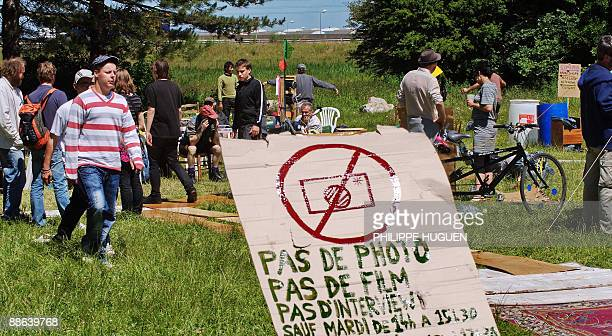 Antiglobalization activists from 'No Border' group gather together in a camp on June 23 2009 in Calais northern France to protest against hundreds of...