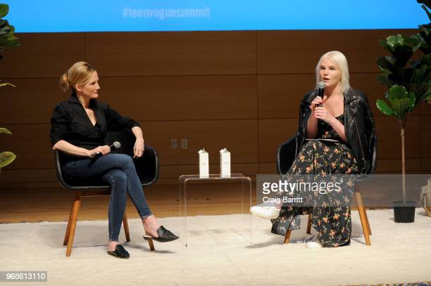 Antigone Davis and Vera Papisova speak onstage during the Teen Vogue Summit 2018 #TurnUp Day 1 at The New School on June 1 2018 in New York City