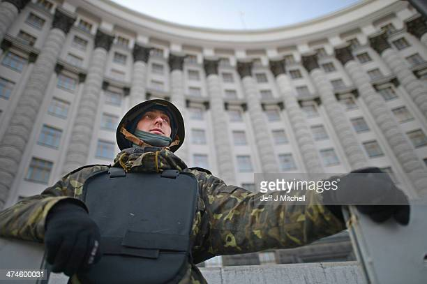 Antigovernment demonstrators continue guarding government buildings near to Independence Square on February 24 2014 in Kiev Ukraine Ukrainian interim...