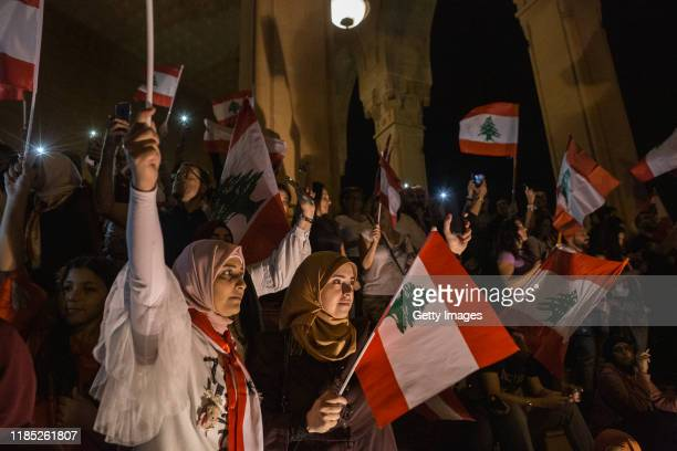 Anti-government demonstrators gather in Martyrs' Square to listen to speeches and music on November 3, 2019 in Beirut, Lebanon. Lebanon has seen 18...