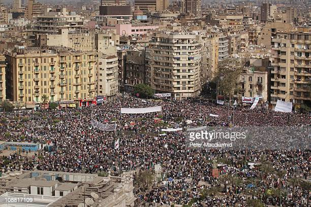 Antigovernment demonstrators gather in Tahrir Square on February 4 2011 in Cairo Egypt Antigovernment protesters have called today 'The day of...