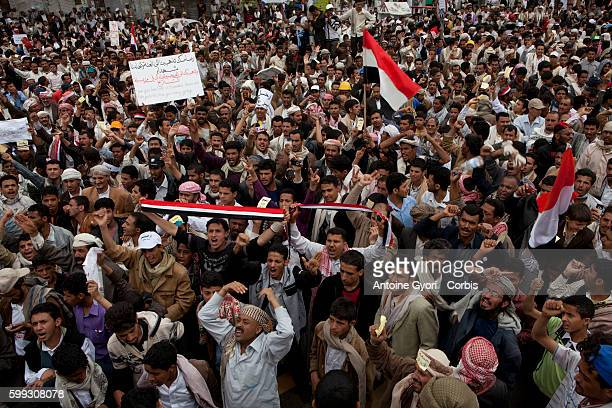 AntiGovernment demosntrators in front of the University of Sanaa Yemen's president has declared a nationwide state of emergency after snipers killed...