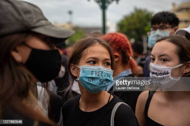 Antigovernment protesters as they take part in a Harry Potter themed rally in front of Democracy Monument on August 3 2020 in Bangkok Thailand The...