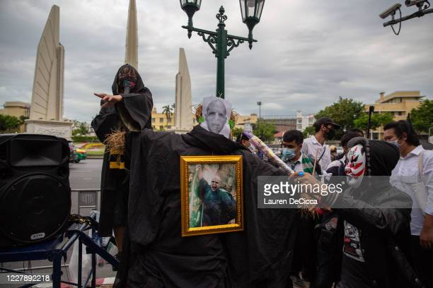 Antigovernment protesters cast a spell on Voldemort who symbolizes Prime Minister Prayut Chanocha as they take part in a Harry Potter themed rally in...