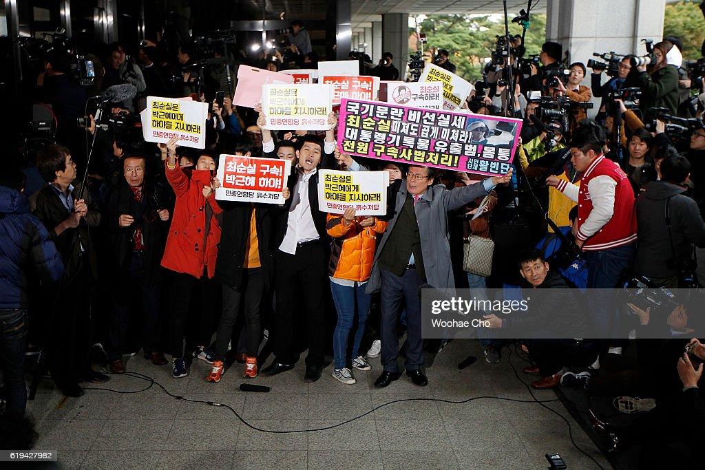 President Park's Secret Advisor Choi Soon-Sil Appears At Prosecutor's Office : News Photo