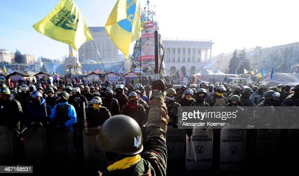 Antigovernment Protesters gather at the Independence Square after demonstrating around the national Stadium on February 6 2014 in Kiev Ukraine German...