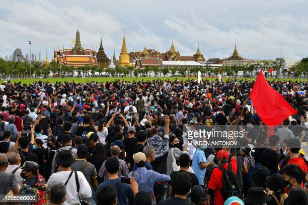 Anti-government protesters gather near the Grand Palace as they take part in a pro-democracy rally in Bangkok on September 19, 2020. - A youth-led...