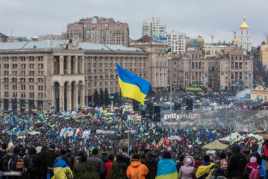 Anti-government protesters gather on Independence Square on December 8, 2013 in Kiev, Ukraine. Thousands of people have been protesting against the government since a decision by Ukrainian president Viktor Yanukovych to suspend a trade and partnership agreement with the European Union in favor of incentives from Russia.