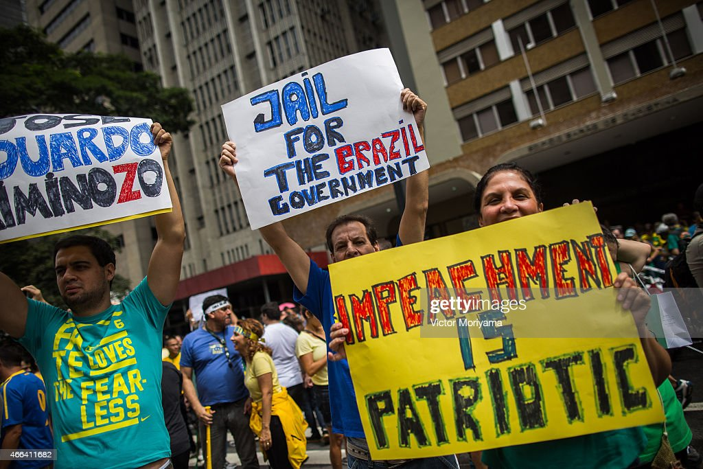 Mass Anti-Corruption Marches Across Brazil Protest Petrobras Scandal : News Photo
