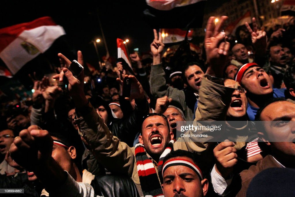 Anti-government protesters rally after a speech by Egyptian President Hosni Mubarak in Tahrir Square February 10, 2011 in Cairo, Egypt. President Hosni Mubarak made a statement saying that he had given some powers to his vice President but would not resign or leave the country, leaving a crowd of anti-government protesters disappointed and furious after early reports he might step down.