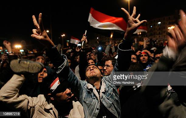 Antigovernment protesters react after a speech by Egyptian President Hosni Mubarak in Tahrir Square February 10 2011 in Cairo Egypt President Hosni...