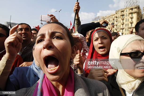 Antigovernment protesters shout slogans against Egypt's President Hosni Mubarak during massive protests for the 15th consecutive day in central Cairo...
