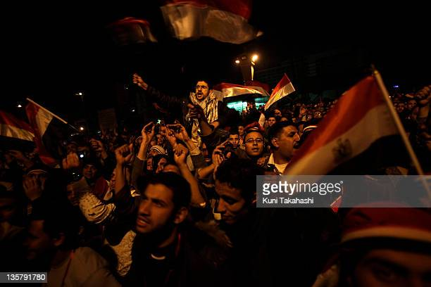 Antigovernment protesters show their anger after President Hosni Mubarak announced that he is not stepping down February 10 2011 at Tahrir Square in...