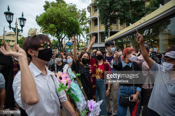 Antigovernment protesters take part in a Harry Potter themed rally in front of Democracy Monument on August 3 2020 in Bangkok Thailand The...