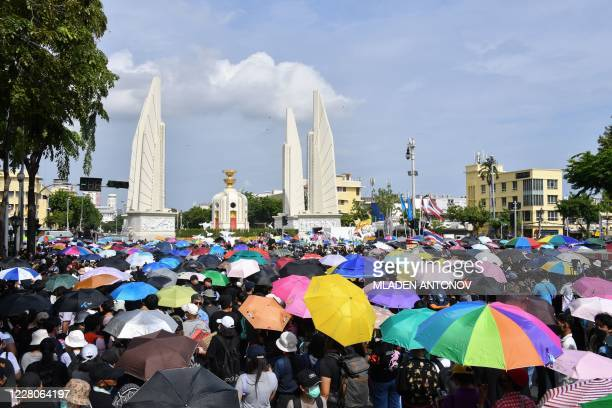 TOPSHOT Antigovernment protesters take part in a rally by the Democracy Monument in Bangkok on August 16 2020 Protesters gathered for a rally in...