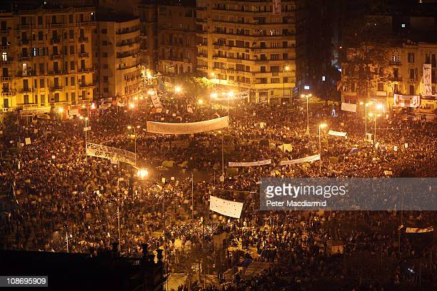 Antigovernment protestors continue to defy the curfew in Tahrir Square on February 1 2011 in Cairo Egypt Protests in Egypt continued with the largest...