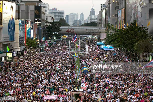 Anti-government protestors occupy a downtown intersection during the first day of a mass demonstration on January 13, 2014 in Bangkok, Thailand. Fear...
