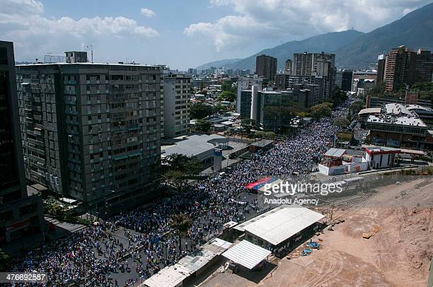 Antigovernment protests keep going on in Caracas Venezuela on March 4 2014 Venezuelan police used water cannon and tear gas to disperse protesters...