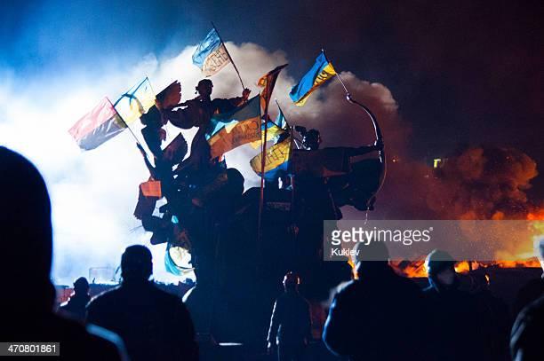 Anti-gouvernement Riot à Kiev Ukraine
