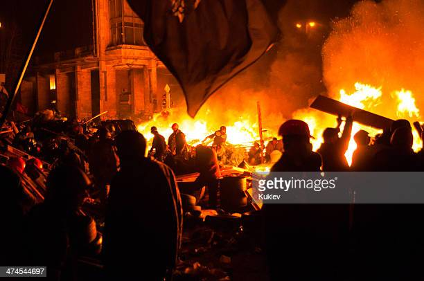 anti-government riot in kyiv ukraine - riot stock pictures, royalty-free photos & images