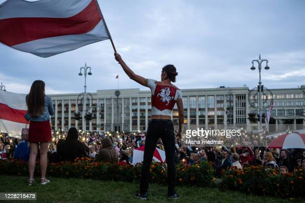Anti-governmental protestors at a rally in Independence Square in central Minsk on August 26, 2020 in Minsk, Belarus. There have been near daily...