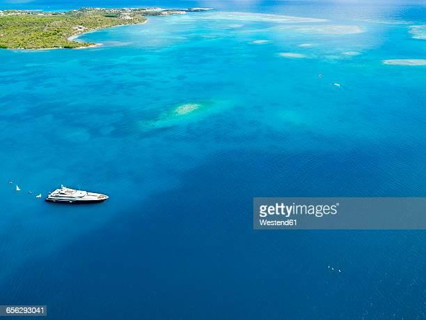 Antigua and Barbuda, Antigua, Green Island, Green Bay, motor yacht