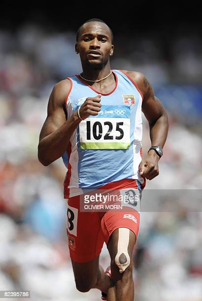 Antigua and Barbuda's Brendan Christian competes in the men's first round 200m heat 8 at the Bird's Nest National Stadium during the 2008 Beijing...