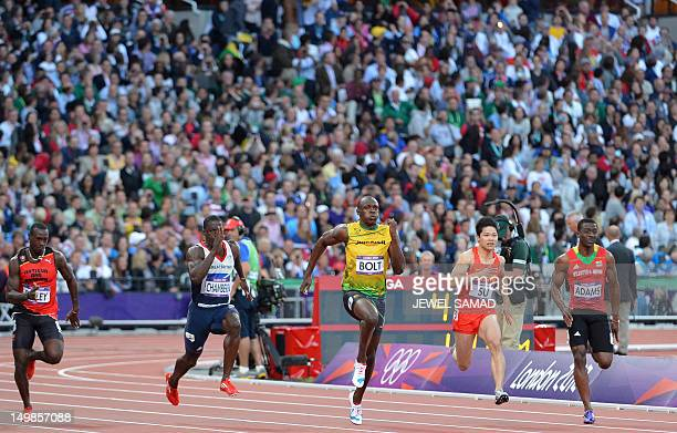 Antigua and Barbuda's Daniel Bailey Britain's Dwain Chambers Jamaica's Usain Bolt China's Su Bingtian and Saint Kitts Nevis' Antoine Adams compete in...