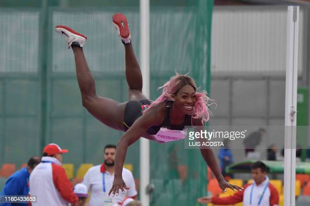 Antigua and Barbuda's Priscilla Frederick competes in the Athletics Women's High Jump Final during the Lima 2019 Pan-American Games in Lima on August...