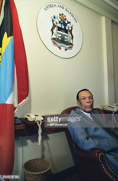 Antigua Prime Minister Vere Bird in his Office