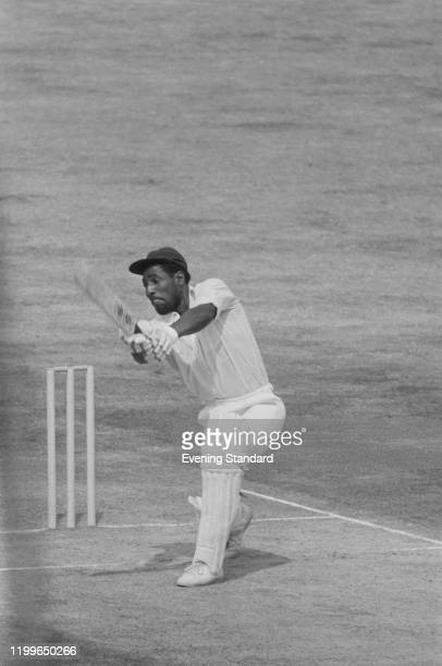 Antiguan cricketer Viv Richards in action for the West Indies during the 5th Test between England and the West Indies at the Oval in London England...