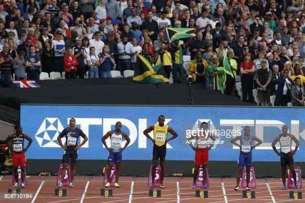 Antigua's Cejhae Greene France's Jimmy Vicaut Britain's Chijindu Ujah Jamaica's Usain Bolt Bahrain's Andrew Fisher US athlete Christian Coleman and...