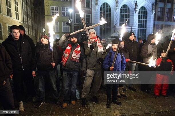 Antiimmigrants rally in Gdansk city centre Dozen farright activists from ONR and Mlodziez Wszechpolska organizations shouted racist slogans and...