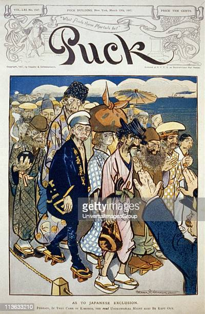 Antiimmigration caricature showing anarchists Jews Russians and Italians dressed in kimonos being kept out of the United States