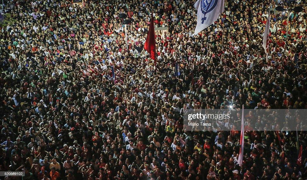 Activists In Rio De Janeiro Rally Against Dilma Rousseff Impeachment : News Photo