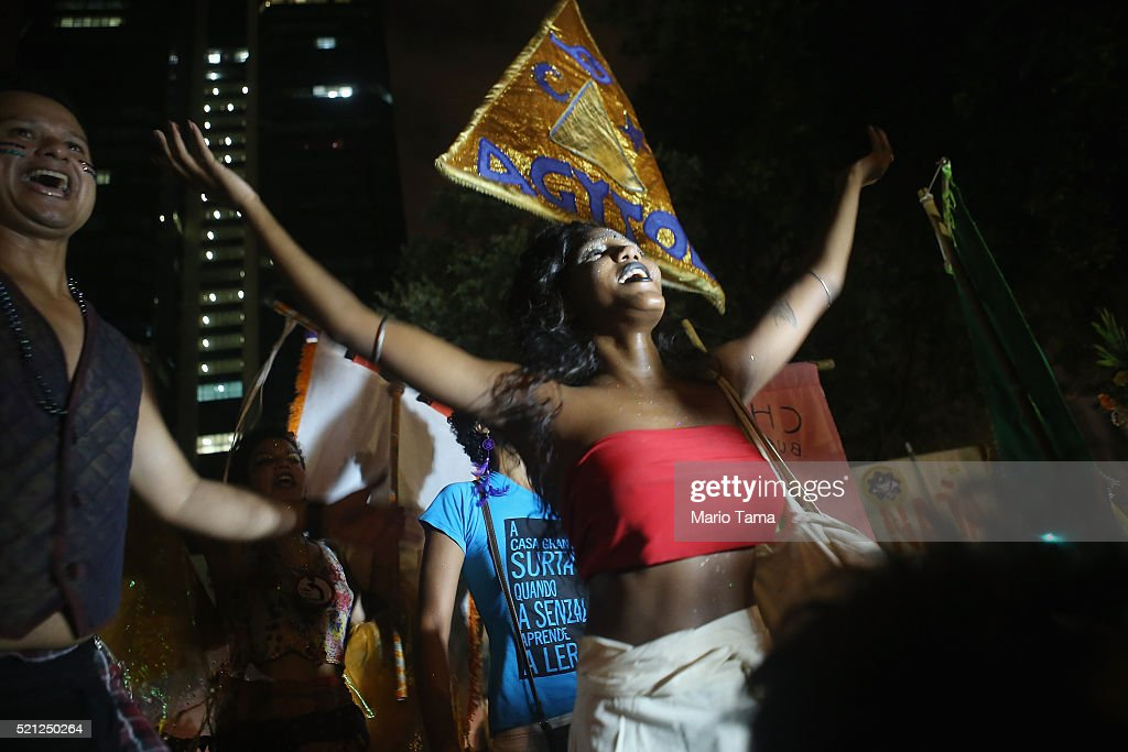 "Rio Activists Holds A ""Carnival Against Impeachment"" Of Dilma Rousseff : News Photo"