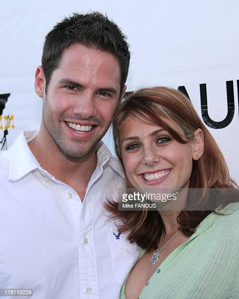 Antik Denim store opening party in Los Angeles United States on August 18 2005 Steven Hill and Jenna Lewis at Antic Denim